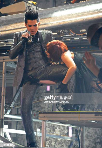 Singer Adam Lambert performs onstage at the 2009 American Music Awards at Nokia Theatre LA Live on November 22 2009 in Los Angeles California