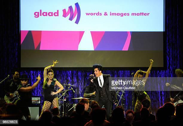 Singer Adam Lambert performs onstage at the 21st Annual GLAAD Media Awards held at Hyatt Regency Century Plaza Hotel on April 17, 2010 in Los...