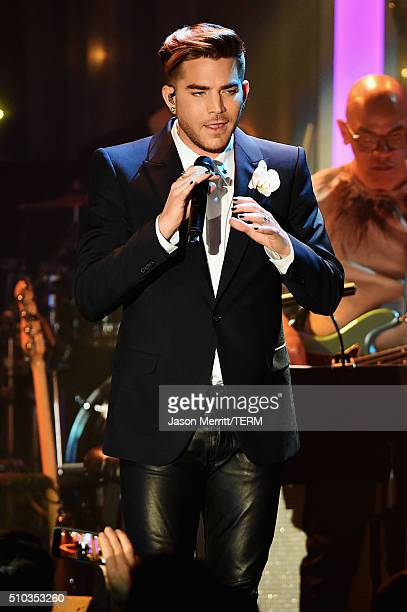 Singer Adam Lambert performs onstage during the 2016 PreGRAMMY Gala and Salute to Industry Icons honoring Irving Azoff at The Beverly Hilton Hotel on...