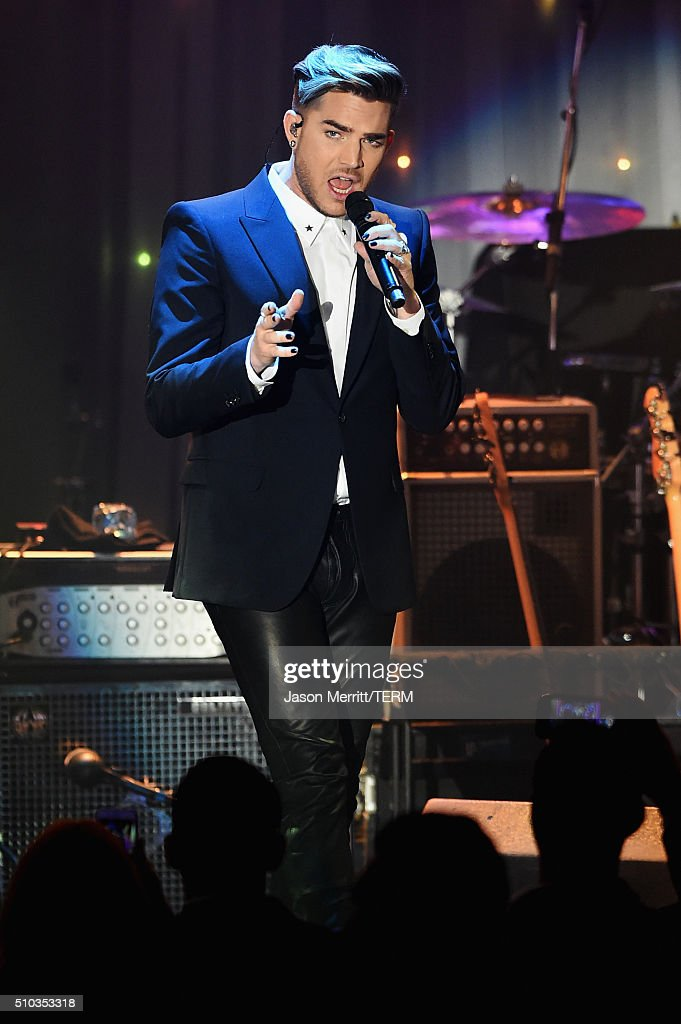 Singer Adam Lambert performs onstage during the 2016 Pre-GRAMMY Gala and Salute to Industry Icons honoring Irving Azoff at The Beverly Hilton Hotel on February 14, 2016 in Beverly Hills, California.