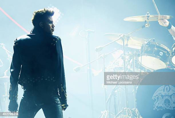 Singer Adam Lambert performs with Queen at Madison Square Garden on July 17 2014 in New York City