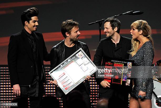 Singer Adam Lambert Songwriters of the Year Max Martin and Lukasz 'Dr Luke Gottwald and singer Ke$ha pose onstage at the 28th Annual ASCAP Pop Music...