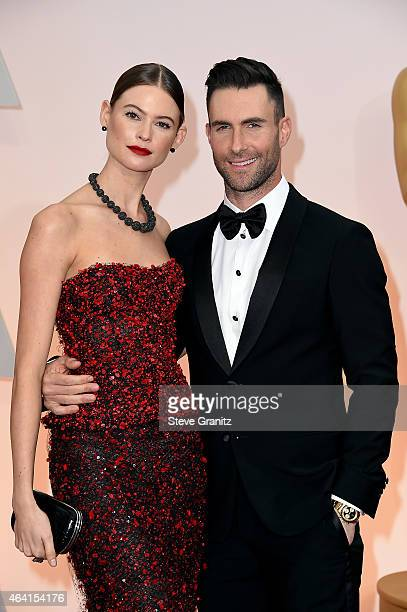 Singer Adam Levine and Behati Prinsloo attend the 87th Annual Academy Awards at Hollywood & Highland Center on February 22, 2015 in Hollywood,...