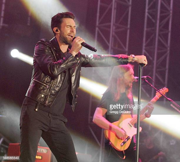 Singer Adam Levine and guitarist James Valentine of Maroon 5 perform at 1027 KIIS FM's Wango Tango at The Home Depot Center on May 11 2013 in Carson...