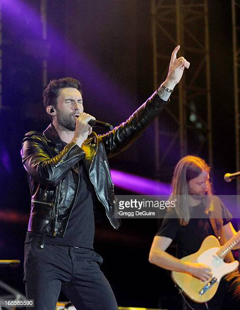 Singer Adam Levine and guitarist James Valentine of Maroon 5 perform at 102.7 KIIS FM's Wango Tango at The Home Depot Center on May 11, 2013 in...