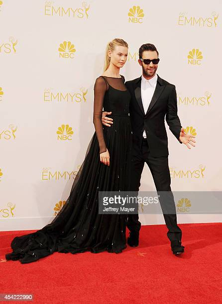 Singer Adam Levine and model Behati Prinsloo arrive at the 66th Annual Primetime Emmy Awards at Nokia Theatre L.A. Live on August 25, 2014 in Los...