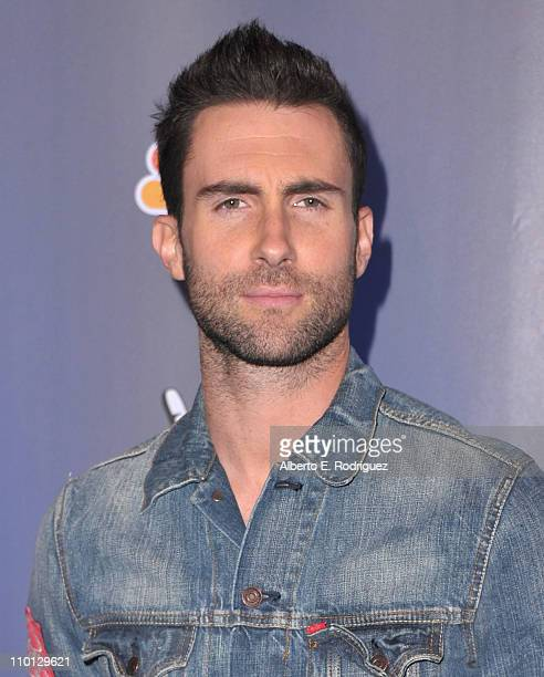 Singer Adam Levine arrives at NBC's press conference for the their new Show The Voice on March 15 2011 in Los Angeles California