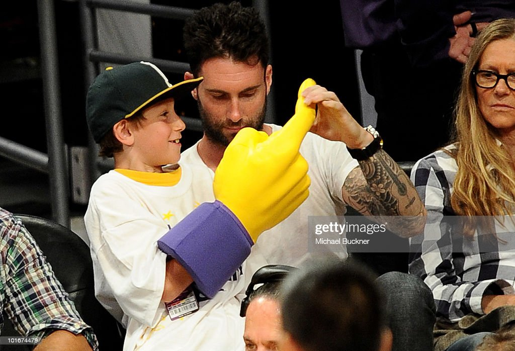 Singer Adam Levine attend Game 2 of the NBA Finals between the Los Angeles Lakers and Boston Celtics at the Staples Center on June 6, 2010 in Los Angeles, California.