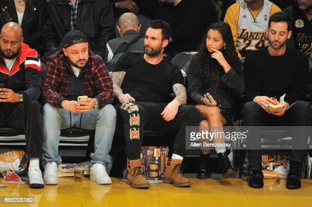 Singer Adam Levine attends a basketball game between the Los Angeles Lakers and the Golden State Warriors at Staples Center on December 18 2017 in...