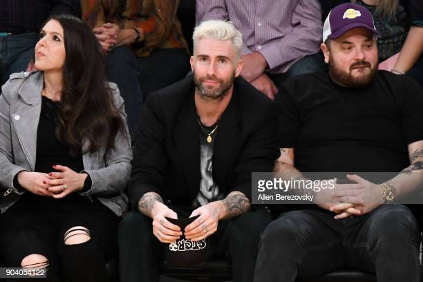 Singer Adam Levine attends a basketball game between the Los Angeles Lakers and the San Antonio Spurs at Staples Center on January 11 2018 in Los...