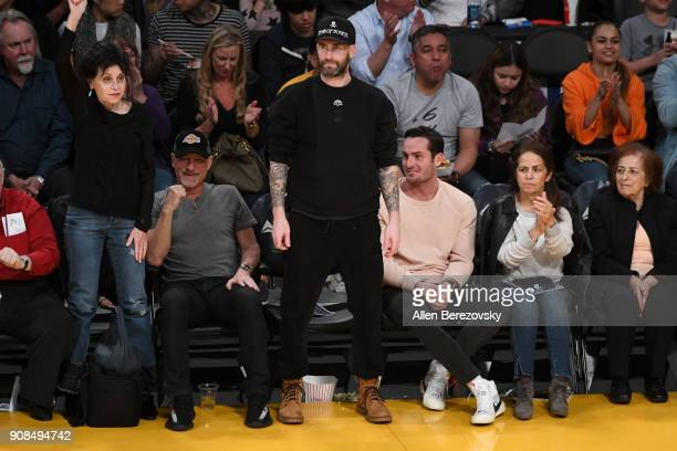 Singer Adam Levine attends a basketball game between the Los Angeles Lakers and the New York Knicks at Staples Center on January 21 2018 in Los...
