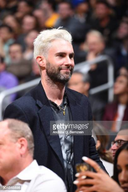 Singer Adam Levine is seen during the game between the San Antonio Spurs and Los Angeles Lakers on January 11 2018 at STAPLES Center in Los Angeles...