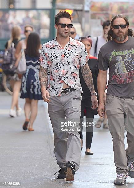 Singer Adam Levine is seen is seen walking in soho on September 4 2014 in New York City