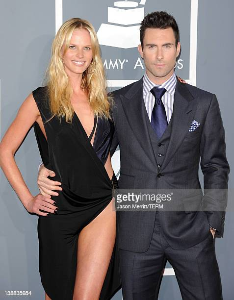 Singer Adam Levine of Maroon 5 and Anne V arrive at the 54th Annual GRAMMY Awards held at Staples Center on February 12 2012 in Los Angeles California