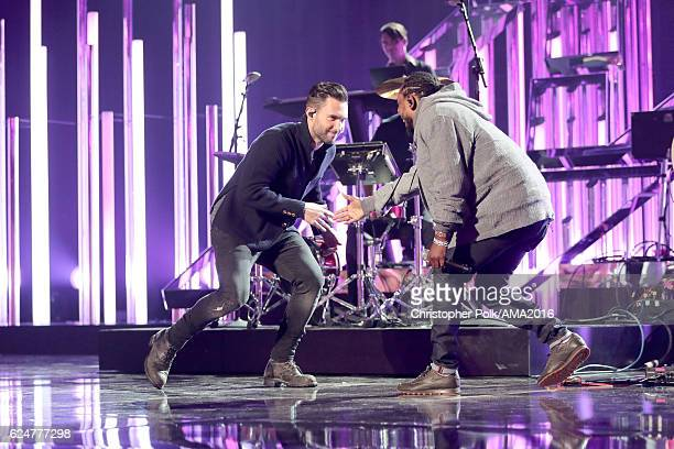Singer Adam Levine of Maroon 5 and rapper Kendrick Lamar perform onstage at the 2016 American Music Awards at Microsoft Theater on November 20 2016...