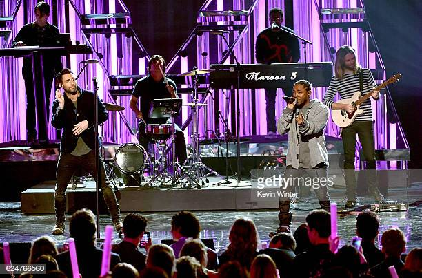 Singer Adam Levine of Maroon 5 and rapper Kendrick Lamar perform onstage during the 2016 American Music Awards at Microsoft Theater on November 20...
