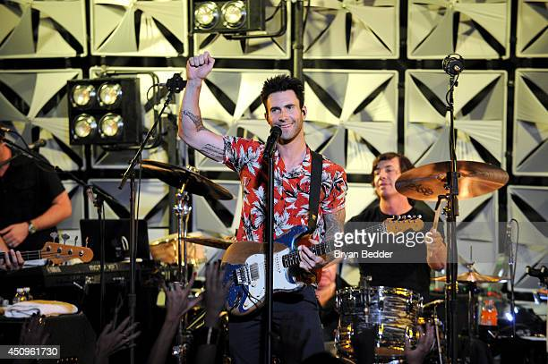 Singer Adam Levine of Maroon 5 performs at the #AmexEveryDayLive concert live streamed from The Bowery Ballroom on June 20 2014 in New York City