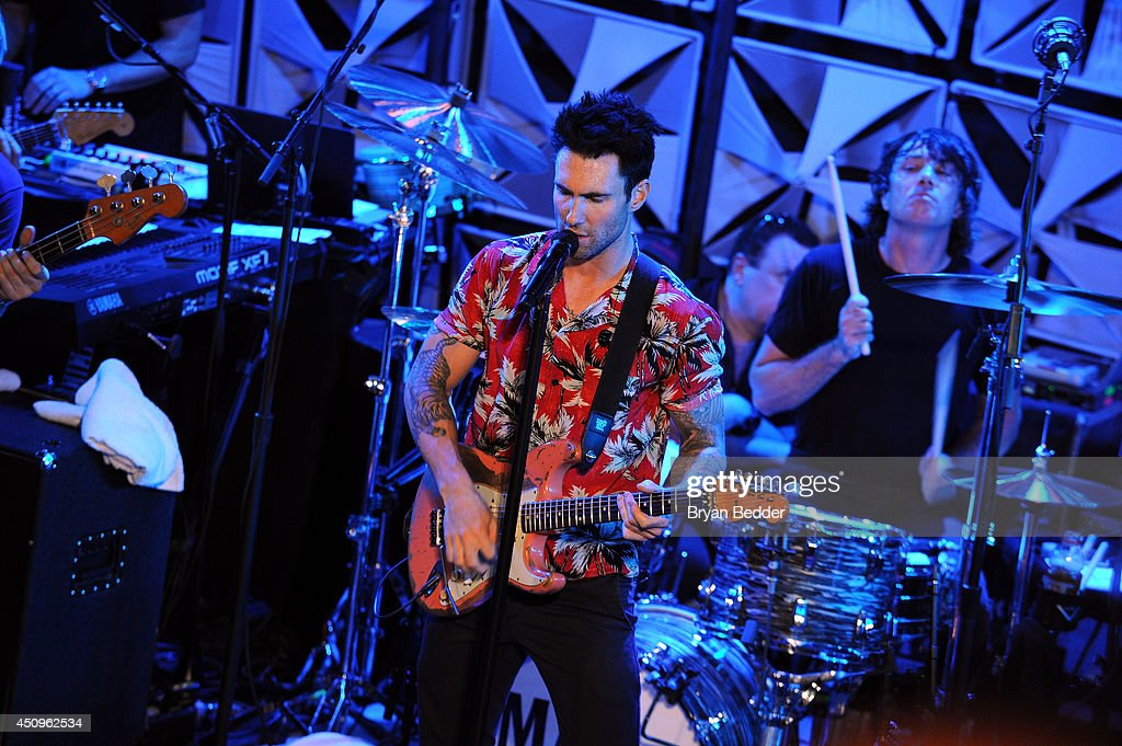 Singer Adam Levine of Maroon 5 performs at the #AmexEveryDayLive concert, live streamed from The Bowery Ballroom on June 20, 2014 in New York City.