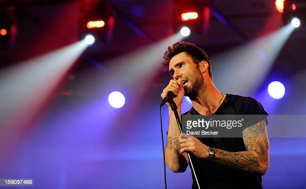 Singer Adam Levine of Maroon 5 performs during a keynote address at the 2013 International CES at The Venetian on January 7, 2013 in Las Vegas,...