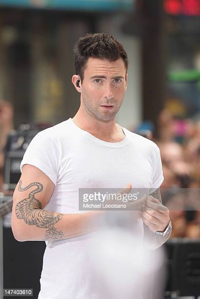 Singer Adam Levine of Maroon 5 performs on NBC's 'Today' at Rockefeller Plaza on June 29 2012 in New York City