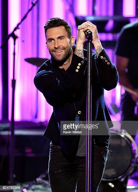 Singer Adam Levine of Maroon 5 performs onstage during the 2016 American Music Awards at Microsoft Theater on November 20 2016 in Los Angeles...
