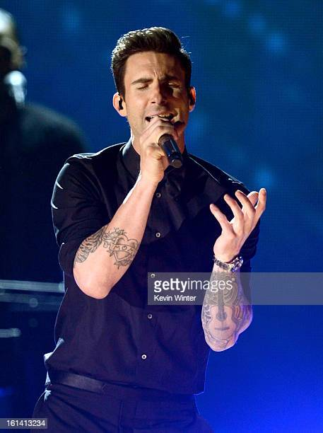 Singer Adam Levine of Maroon 5 performs onstage during the 55th Annual GRAMMY Awards at STAPLES Center on February 10 2013 in Los Angeles California