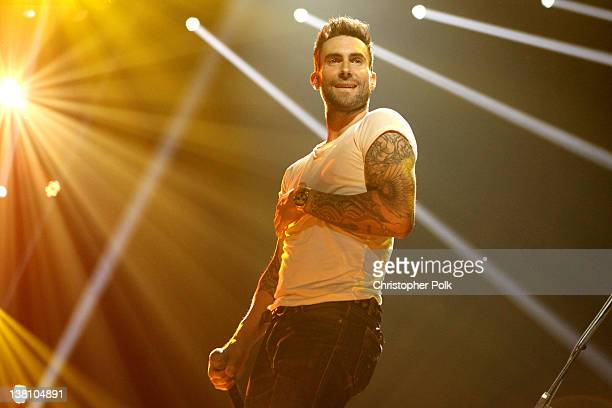 Singer Adam Levine performs onstage during VH1's Super Bowl Fan Jam at Indiana State Fairgrounds Pepsi Coliseum on February 2 2012 in Indianapolis...
