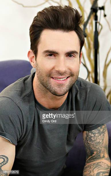 Singer Adam Levine poses after being interviewed by Danielle Monaro of Elvis Duran and the Morning Show at The Mercer Hotel on February 15 2013 in...