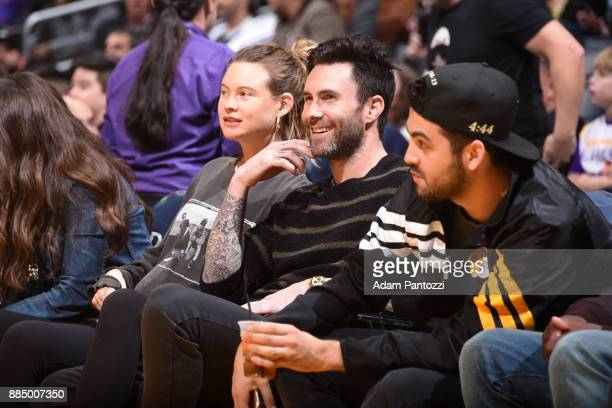 Singer Adam Levine sits courtside during the Los Angeles Lakers vs Houston Rockets game on December 3 2017 at STAPLES Center in Los Angeles...