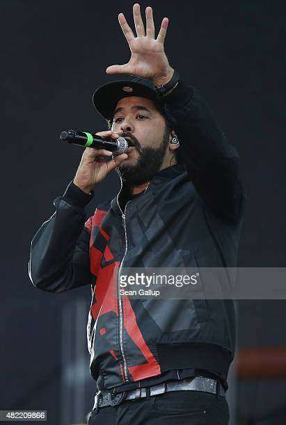 Singer Adel Tawil performs at the official opening ceremony of the European Maccabi Games at the Waldbuehne on July 28 2015 in Berlin Germany Over...