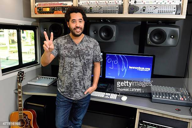Singer Adel Tawil poses inside the 'John Lennon Education Bus' at the international music fair 'Musikmesse' on March 11 2014 in Frankfurt am Main...