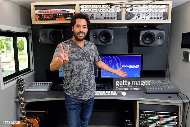 Singer Adel Tawil poses inside the 'John Lennon Education Bus' at the international music fair 'Musikmesse' on March 11 2014 in Frankfurt am Main...