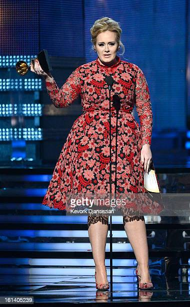 Singer Adele accepts Best Pop Solo Performance for Set Fire to the Rain onstage at the 55th Annual GRAMMY Awards at Staples Center on February 10...