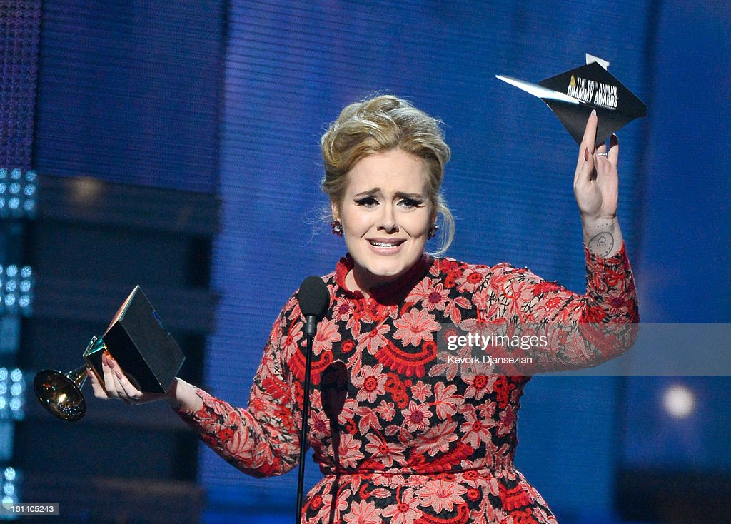 Singer Adele accepts Best Pop Solo Performance for 'Set Fire to the Rain (Live)' onstage at the 55th Annual GRAMMY Awards at Staples Center on February 10, 2013 in Los Angeles, California.