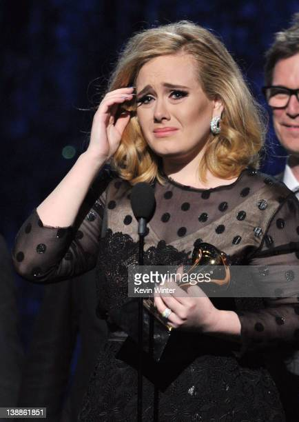 Singer Adele accepts the award for 'Album of the Year' onstage at the 54th Annual GRAMMY Awards held at Staples Center on February 12, 2012 in Los...