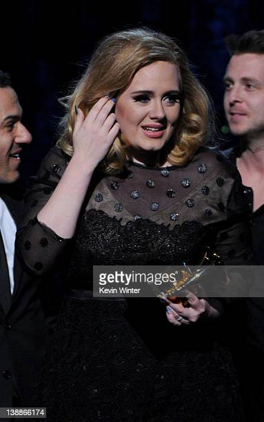 Singer Adele accepts the award for 'Album of the Year' onstage at the 54th Annual GRAMMY Awards held at Staples Center on February 12 2012 in Los...
