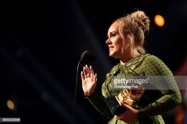 Singer Adele accepts the award for Song of The Year for 'Hello' during The 59th GRAMMY Awards at STAPLES Center on February 12 2017 in Los Angeles...