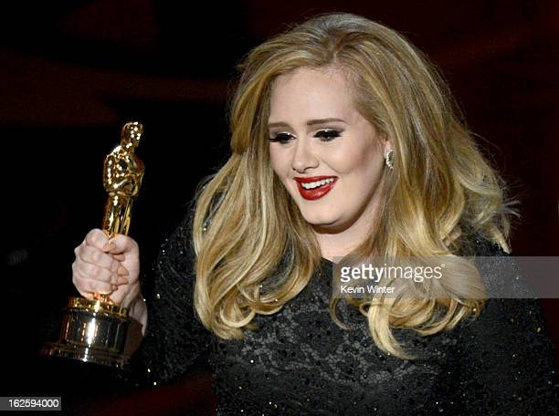 Singer Adele Adkins accepts the Best Original Song award for Skyfall from Skyfall onstage during the Oscars held at the Dolby Theatre on February 24...