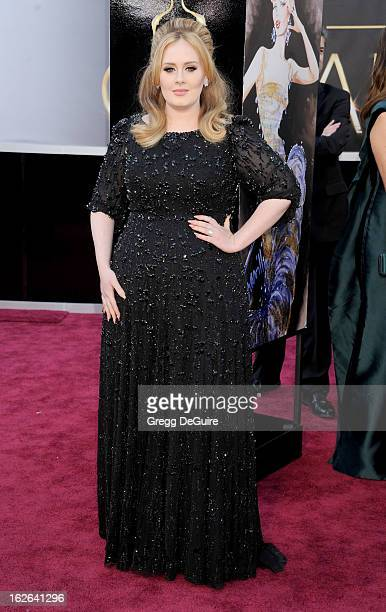Singer Adele Adkins arrives at the Oscars at Hollywood Highland Center on February 24 2013 in Hollywood California
