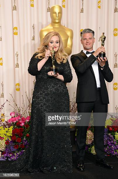 Singer Adele and songwriter Paul Epworth winners of the Best Original Song award for 'Skyfall' pose in the press room during the Oscars held at Loews...