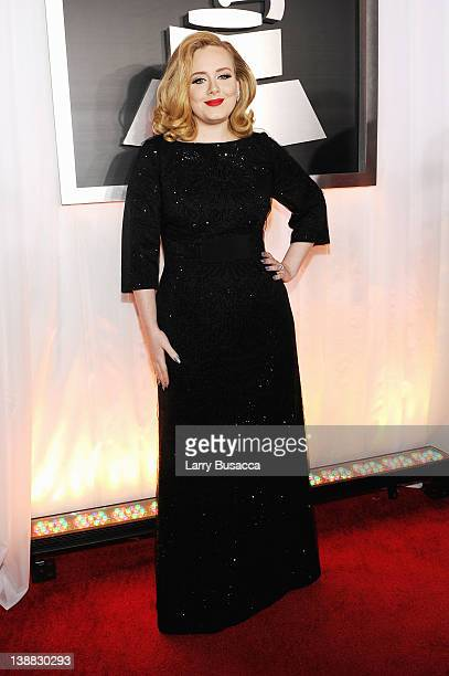 Singer Adele arrives at the 54th Annual GRAMMY Awards held at Staples Center on February 12 2012 in Los Angeles California