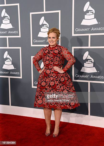 Singer Adele arrives at the 55th Annual GRAMMY Awards at Staples Center on February 10 2013 in Los Angeles California