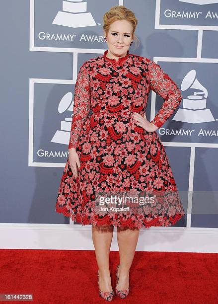 Singer Adele arrives at The 55th Annual GRAMMY Awards at Staples Center on February 10, 2013 in Los Angeles, California.