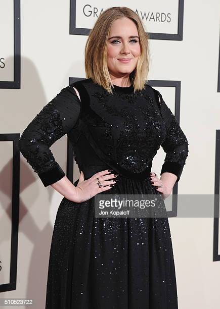 Singer Adele arrives at The 58th GRAMMY Awards at Staples Center on February 15, 2016 in Los Angeles, California.
