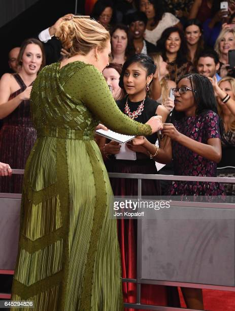 Singer Adele arrives at the 59th GRAMMY Awards at the Staples Center on February 12 2017 in Los Angeles California