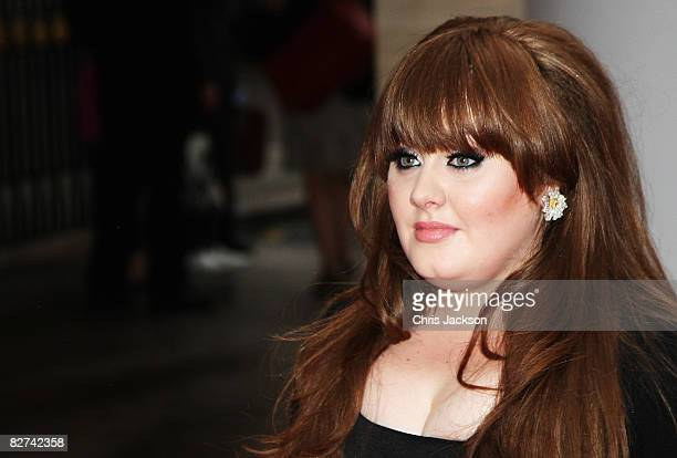 Singer Adele arrives in the rain at the Mercury Music Prize 2008 at Grosvenor House Hotel on September 9 2008 in London England