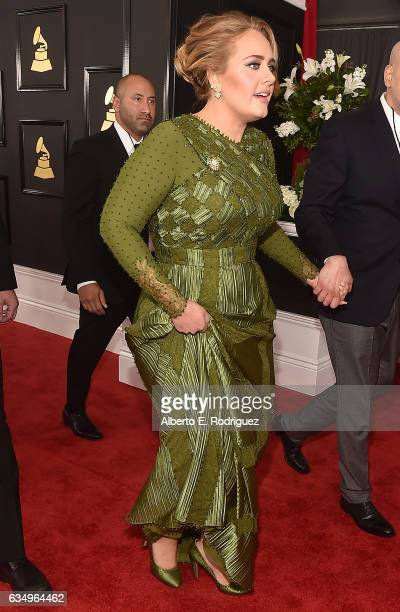 Singer Adele attends The 59th GRAMMY Awards at STAPLES Center on February 12 2017 in Los Angeles California