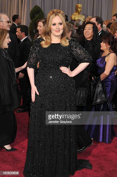 Singer Adele attends the 85th Annual Academy Awards held at the Hollywood Highland Center on February 24 2013 in Hollywood California