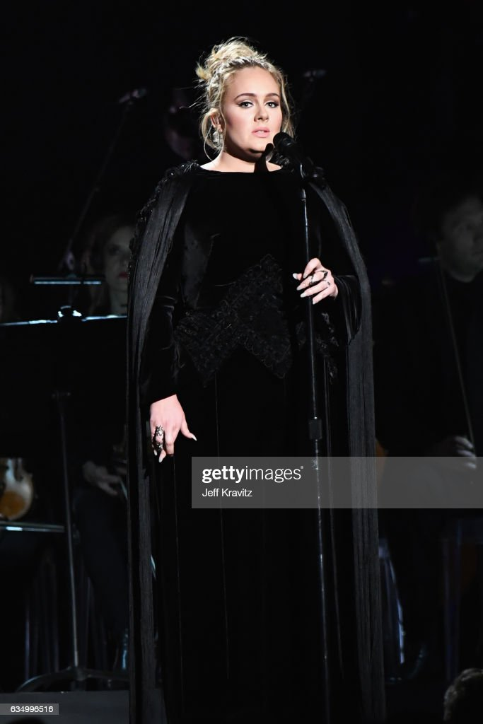 Singer Adele performs a tribute to the late George Michael onstage during The 59th GRAMMY Awards at STAPLES Center on February 12, 2017 in Los Angeles, California.