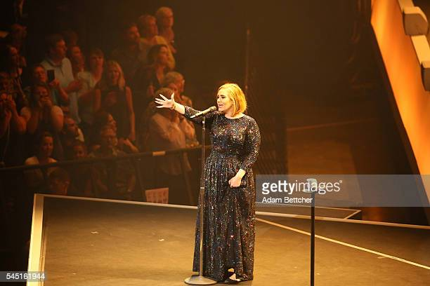 Singer Adele performs during the opening night of her North American concert tour at the Xcel Energy Center on July 5 2016 in St Paul Minnesota